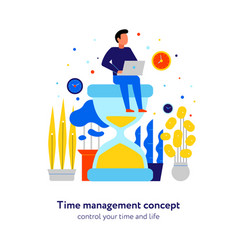 time management flat composition vector image