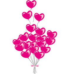 valentine s day with red hearts balloons vector image