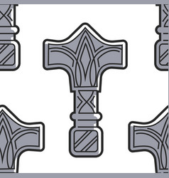 Vikings weapon seamless pattern mjolnir hammer of vector
