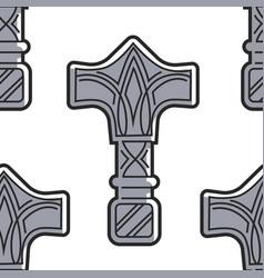 Vikings weapon seamless pattern mjolnir hammer vector