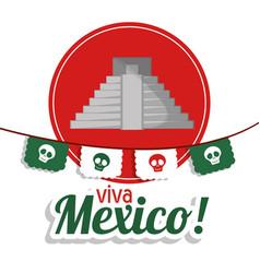 Viva mexico - pyramid festival poster vector