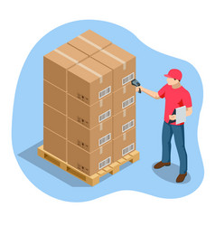 Warehouse manager or worker with bar vector