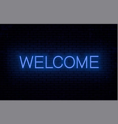 welcome blue neon inscription vector image