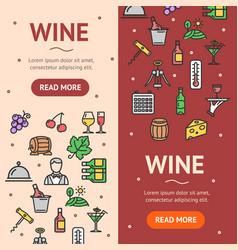 wine drink banner vecrtical set vector image