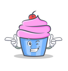 Wink cupcake character cartoon style vector