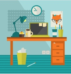 Work place of designer with lady fox poster vector