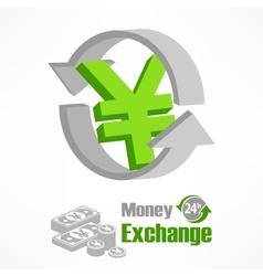 Yen symbol in green vector image vector image