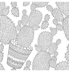 Zentangle Cactus seamless pattern Hand drawn vector image