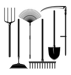 agricultural tools isolated on white background vector image