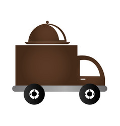color silhouette with food truck vector image
