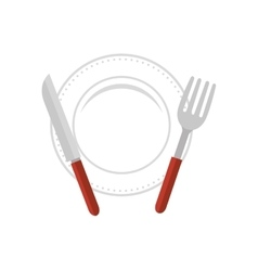 dish and cutlery kitchen tool isolated icon vector image