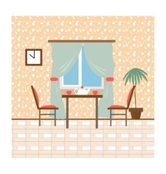 Living and dining rooms with furniture Flat style vector image vector image