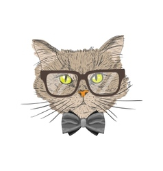 Portrait of hipster cat vector