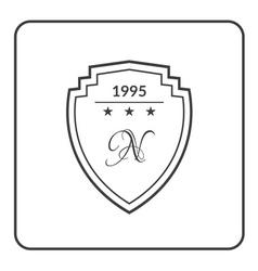 Shield emblem flat white vector