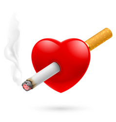 smoking kill of red heart impaled by cigarette vector image