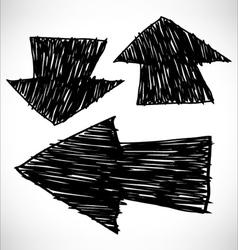 3 hand drawn arrows vector image vector image
