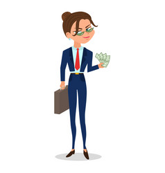 cartoon girl in a suit holds cash and case vector image vector image