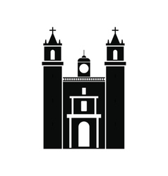 Cathedral in Valladolid Mexico icon simple style vector image