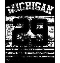 college michigan typography t-shirt graphics vector image