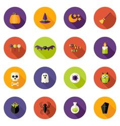 Halloween Colorful Flat Circle Icons Set vector image vector image