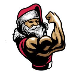 Muscular santa claus show his bicep arm vector