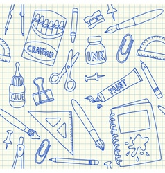 School supplies doodles on school squared paper vector image vector image