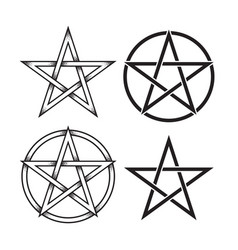 set of pentagram dot work ancient pagan symbol vector image