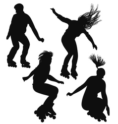 Silhouette of young people rollerblading vector image