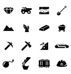 black mining icon set vector image vector image