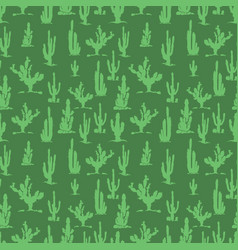 green cactus silhouettes seamless pattern design vector image vector image