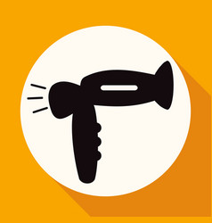 hair dryer on white circle with a long shadow vector image
