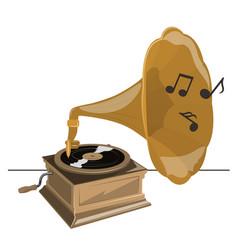 old gramophone twists vinyl plays music vector image