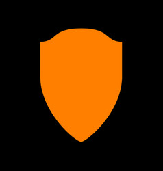 shield sign orange icon on black vector image
