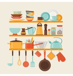Card with kitchen shelves and cooking utensils in vector image vector image