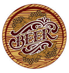 color with beer barrel and hop vector image vector image