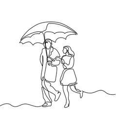 couple walking under umbrella vector image vector image