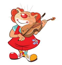 Cute cat clown violinist vector