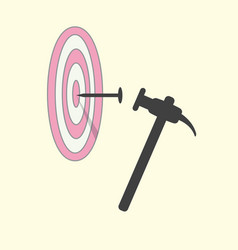 hit nail in target by hammer abstract target vector image vector image
