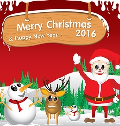 Merry Christmas Santa Claus and reindeer The white vector image
