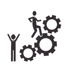 silhouette gear wheel icon and men figure vector image