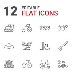 12 farmer icons vector image
