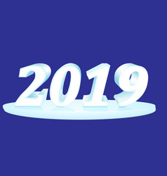 6 happy new year 2019 inscription of white vector image