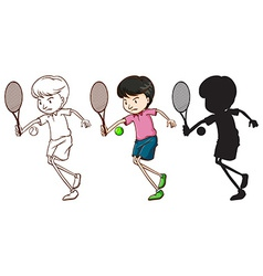 A boy playing tennis vector image