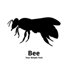 A silhouette of a black bee vector