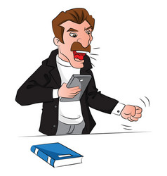 angry man holding a book shouting vector image