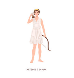 artemis or diana - goddess or deity hunt moon vector image