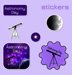 astronomy day stickers in shades of purple vector image