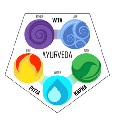 Ayurveda elements and doshas icons vector