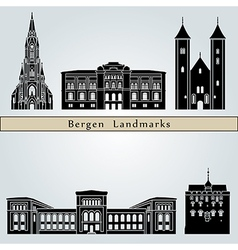 Bergen landmarks and monuments vector image