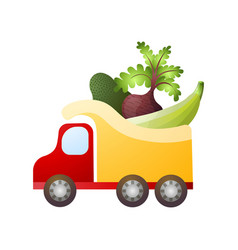 big truck with eco natural farm vegetables for vector image